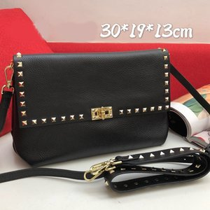Wholesale spike clutches for sale - Group buy 30cm Women Handbag Purse Grain Calfskin Leather Shoulder Bag Rivet Removable Shoulder Strap Bags Spike Crossbody Bag Messenger Clutch bags