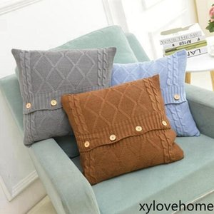Wholesale crochet pillow cases for sale - Group buy New Knitted Pillow Case Cover European Crochet Button Chevron Sofa pillowcase Car Cushion Cover Home Decor Gifts cm with Fasten Buckles