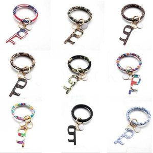 Wholesale touch bracelets resale online - Bracelet Touchless Key Chain No Touch Elevator Door Hook Opener Contactless Bracelet Acrylic Key Ring Accessory Party Favor Gift EEC2752