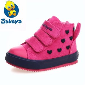 Wholesale snow boats resale online - Winter Rubber Girls Boots kid toddler snow boats Warm Children Shoes Girl Flock Leather Plush Platform Flat Sneaker botte enfant