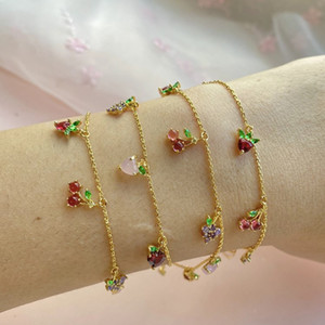 Wholesale tropical supplies resale online - Jewelry Women Bracelet Ins hot cherry peach tropical fruit Bracelet Party Favor for women and girl style T2C5291