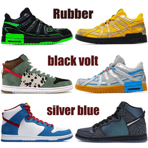 Wholesale pu dog resale online - High quality White x rubber basketball shoes black volt university gold silver blue dog walker men women sneakers trainers US