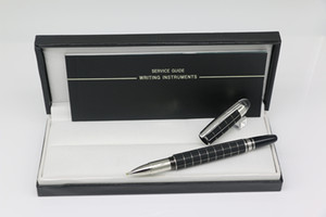 Wholesale finance art for sale - Group buy High quality Classi Black silver grid body Roller pen with series number school office stationery writing pen