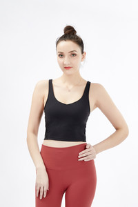 New U-Back Quick Dry Padded Fitness Bras Crop Tops Women Solid Vest-Type Nylon Yoga Workout Sports Bras with Removable Pads