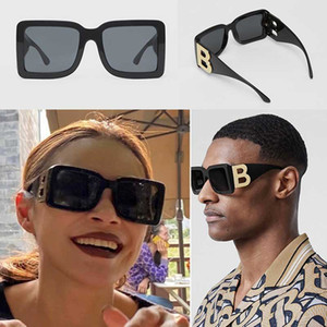 Wholesale double lenses for sale - Group buy 2020 new season female designer sunglasses square plate frame big double B letter legs simple fashion style UV400 glasses B4312 with box