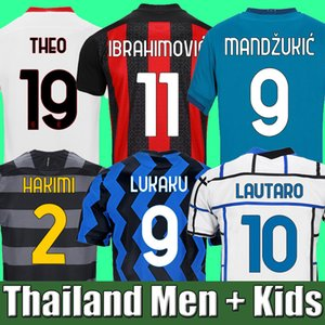 IBRAHIMOVIC THEO MANDZUKIC 20 21 AC milan soccer jersey 2020 2021 football jerseys shirt kids sets LUKAKU LAUTARO ERIKSEN TONALI BRAHIM