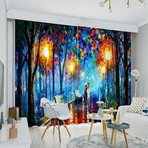 Wholesale room darkening curtains for sale - Group buy Paiting Rain Night Street Panels Set Window Curtain Block out Fabric Drapes Darkening Thermal Insulated Living Room Bedroom1