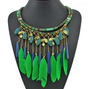 Wholesale tribal chains resale online - Sales African Jewelry Tribal Feather Necklaces for Women Rope Chain Necklace Green Blue Jewellery1