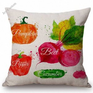 Wholesale vegetable pillows for sale - Group buy Watercolor Vegetable Carrot Summer Fruits Dinner Room Decoration Cushion Cover Cotton Linen Nordic Decorative Sofa Throw Pillow Zbkk