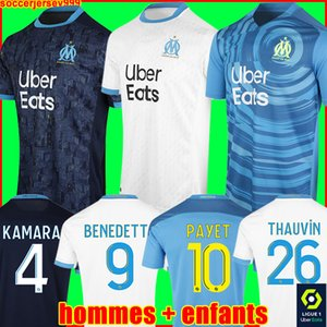 Olympique De Marseille soccer jersey 20 21 OM 2020 2021 maillot foot CUISANCE THAUVIN BENEDETTO KAMARA PAYET football shirt men + kids kit