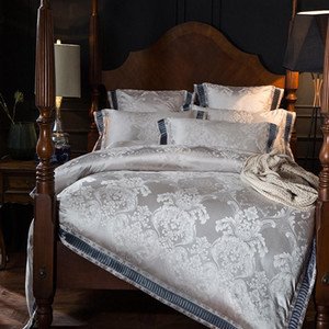 Wholesale pink gold bedding sets resale online - Pink Purple Silver Gold Luxury Satin Jacquard Bedding Set Queen King Size Duvet Cover Bed Sheets European Baroque Style
