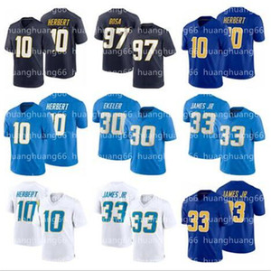 2021 10 Justin Herbert New Men 33 Derwin James 30 Austin Ekeler 13 Keenan Allen 97 Joey Bosa Football Jerseys