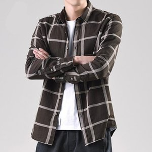 Wholesale stripped shirts resale online - Plaid Shirts Long Sleeve Shirt Men Casual Plaid Shirts Male Strip
