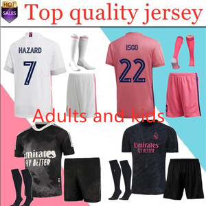 Wholesale 24 k gold for sale - Group buy Men kids football kits Real Madrid soccer jersey SERGIO RAMOS camiseta de futbol HAZARD BENZEMA ISCO MODRIC Kids footbal k