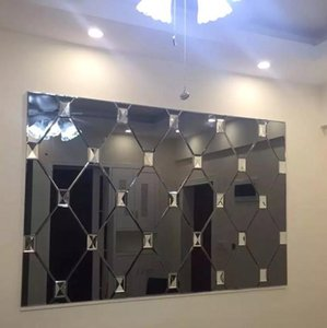 Wholesale art glass mosaic tile for sale - Group buy Luxury Customized Art Mirror Wall Glass Mosaic Tile Silver Grey Golden Copper Fireplace Wall decoration