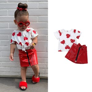 Wholesale kids cartoon casual t shirts resale online - INS Kids Girls Skirts Suits Valentine Day Heart Print T shirt Toddler Tops Kids Designer Clothes Girls Infant Bow Zipper Casual Skirts
