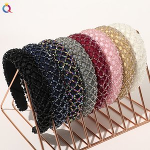 Wholesale making hair bands resale online - Colorful Crystal Headband for Woman Luxury Hand Made Crystal Beaded Sponge Hair Band Bridal Wedding Party headbands Women Diamond hairbands