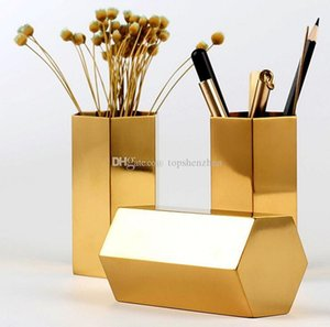 Wholesale gold desk organizer resale online - Metal Pencil Cup Nordic style Hexagon brass gold stainless steel metal vase Gold pen holder storage tube storage container desk ornament