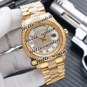 ver web al por mayor-V2 mm Nuevo DateJust Day Fecha ETA Automatic Mens Watch Full Diamond Rose Gold Gold Diamond Diamond Band Web Relojes Hwrx Hello_Watch