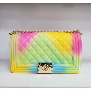 Wholesale ivory hand purse for sale - Group buy Jelly purses and handbags for women rainbow gradient candy ladies hand bags PVC chain Crossbody bag C1011