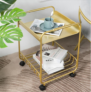 Wholesale corner tables for sale - Group buy Simple modern iron art living room furniture sofa corner table creative pulley movable small tea tables