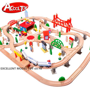 Wholesale toy trains resale online - DIY Electric Wood Train Set Toy Tracks Doll Car with Sound Big Size Healthy Safe Paint Christmas Kid Birthday Gift