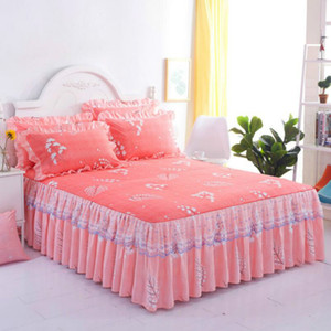 Wholesale king bedspreads resale online - Nordic Romantic Flower Pattern cotton Ruffled Bedspreads Bed Skirt Queen Bed Covers Bedclothes Sheet bedding set Home Decoration