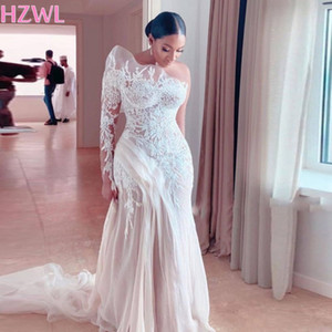 Retro Lace One Shoulder Mermaid Wedding Dresses Saudi Arabia Illusion Long Sleeve Tulle Sweep Train Bridal Gowns 2021 Spring
