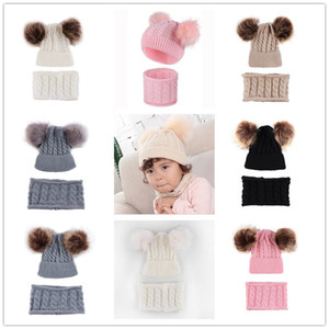 Wholesale sets for newborn resale online - with Fur Pom Balls Winter Beanies and Scarf Piece Set for Years Baby Kids Infants Twist Warm Knitting Skull Caps Headwears E102001