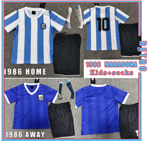 Wholesale argentina home kit resale online - Maradona Argentina Maradona retro Soccer jersey kids kit home away Version Maradona CANIGGIA Vintage football shirt