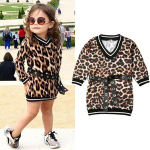 Wholesale milk baby clothes resale online - Kids Baby Girls Clothes Sets Leopard Print Milk Silk Dress V Neck Mini Dress Waistband Streetwear Girls Autumn Outfits Y1