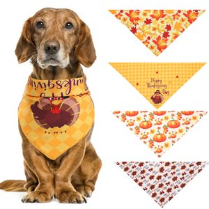 Wholesale accessories turkey resale online - Hot Turkey Thanksgiving Pets Saliva Towel Dog Triangle Scarf Maple Leaf Pumpkin Cat Festival Scarf