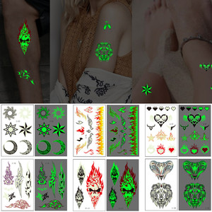 Wholesale bracelet wolf resale online - Luminous Temporary Tattoo Totem Sticker Wolf Skull Moon Cloud Flame Design Bracelet for Cool Woman Man Body Art Makeup Transfer Tattoo Paper