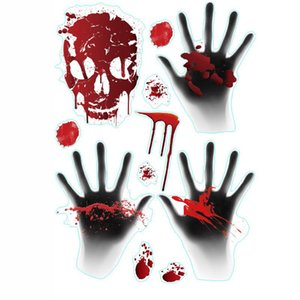 Wholesale halloween door decor resale online - PVC Halloween Bedroom Home Stickers Decorative Wall Stickers Horror Hand Bone Easter Window Door Sticker Decoration Home Decor AHA1752