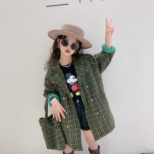 Wholesale winter girls bag resale online - Winter New Girls plaid woolen coat kids Lapel Belt Plaid Trench Coat Lady Style Children Thicken Warm Lattice outwear with bags A4720