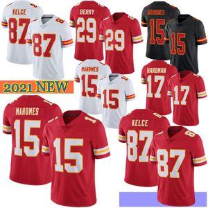 15 Patrick Mahomes Men Football Jerseys 87 Travis Kelce 32 Tyrann Mathieu 29 Berry 17 Hardman 29 Berry Hot Sale 2021