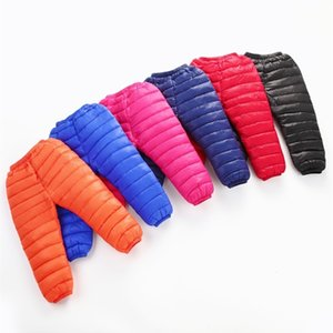 Wholesale snow pants kids resale online - Winter Warm Kids Down Cotton Pants Clothing Boys Pants Girls Leggings Children Down Trousers Windproof Snow Pants Clothes LJ201127