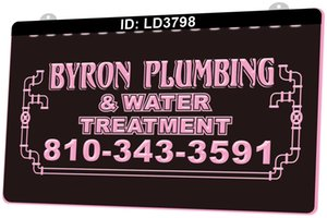 Wholesale water signs resale online - LD3798 Byron Plumbing Water Treatment D Engraving LED Light Sign Colors Retail Free Design