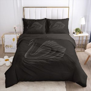 Wholesale swan bedding set queen resale online - 3D Black Duvet Cover Set Bedding Sets Swan Comforther Cases Quilt Covers Pillow shams Animal Queen Full Twin Size Bed Linen