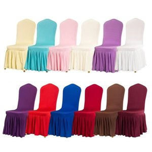 Wholesale chair cover slipcover resale online - 2020 new Pleated Skirt Chair Cover Wedding Banquet Chair Protector Slipcover Elastic Spandex Chairs Covers party Decorations T9I00665