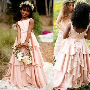 Wholesale dresses for parties resale online - New Cheap Blush Pink Flower Girls Dresses For Wedding Jewel Neck Satin Ruffles Princess Long Zipper Back Children Kids Party Communion Gowns
