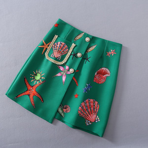 Wholesale starfish clothing for sale - Group buy European and American women s clothing The new spring Starfish printed beaded button Fashionable green skirt