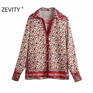 Wholesale nut button resale online - Zevity New Women vintage position cashew nut print kimono smock blouse office lady retro shirt chic femininas blusas tops LS72221