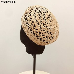 Wholesale trendy berets for sale - Group buy New Trendy Summer Women Beret Cloche Raffia Sun Hat Adjustable Girl Straw Beret Sun Beach Cap Ladies French Style Papyrus Beret