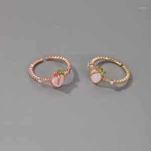 Wholesale peach rings resale online - Women Ring Fruit Rings Woman Wedding Couples Cute Fashion Jewellery Metal Bohemia Rose Gold Color Sweet Peach Pink Pierscionki1