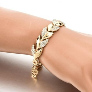 Wholesale china buys gold for sale - Group buy Cheap Designer Braided Gold Leaf Bracelet for women to buy wedding luxury with glass chains