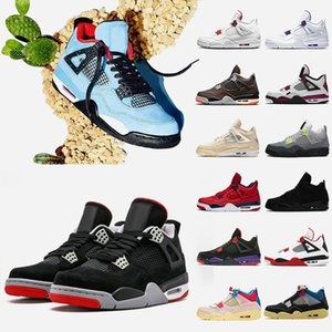 Travis 4 4s Bred Mens Basketball shoes Jumpman Fire Red Sail Black Cat Court Purple Starfish Union Guava Ice Mens Sneakers Trainers