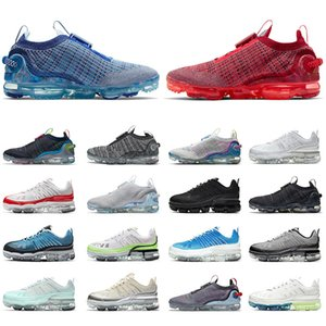 reiner dampf großhandel-Nike Air VaporMax Vapor Max Flyknit A VAVOURMAX Fliegenstricken Herren Laufschuhe Frauen Sneakers Pure Platinum Stein Blue Team Triple White Trainer EUR