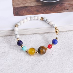 Wholesale stars channel resale online - Natural Stone Chain Bracelet Solar System Planets Stars White Turquoise Fashion Hand String Jewelry Women Bracelets zn K2