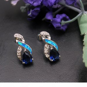 Wholesale blue sapphire earrings sterling silver resale online - 925 Sterling Silver Jewelry Sets Natural Opal Genuine Ocean Blue Sapphire Design Pendant Necklace Earring Christmas Gifts OPJS6